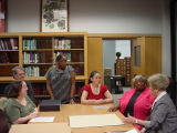 Bishop Visits with Special Collections Staff